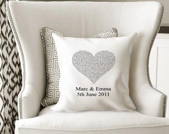 Wedding gift, weddings, annviversary gifts, personalised wedding, personalised cushion, cushions, first dance lyrics, song lyrics, wedding
