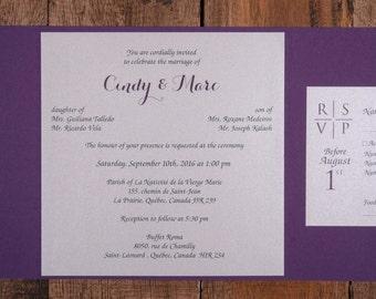 Purple And Black Wedding Invitations Invitation