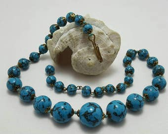 Faux Turquoise Beaded Necklace