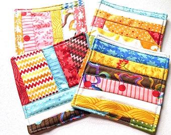 Multicolor Quilted Patchwork Coasters Set of Four in Eclectic Fabrics - CLEARANCE SALE