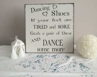Dancing shoes flip flops shabby chic wooden wedding party sign decoration