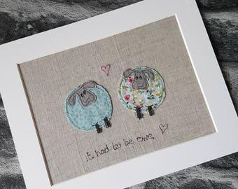 Original textile art, sheep, sheep picture, applique art, handmade, free motion, machine embroidery, wedding gift, unique