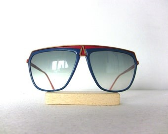 Laura Biagiotti 80's Sunglasses Big Frame Oversized Vintage Gold Red Blue New FREE SHIPPING Sun Glasses Italy Oxsol Fantasy