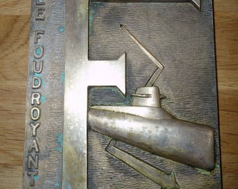 the french submarine Le Foudroyant deco boat nautical marine bronze plate