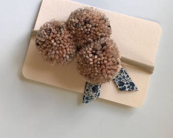 Pom Pom Headband // One Size Nylon Band // Liberty of London Fabric // Fig // Blue Floral // Baby Headband // Toddler Headband