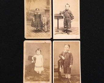 CDV Lot - Casual Standing Kids, Four(4) 19th Century Carte De Visite Photos