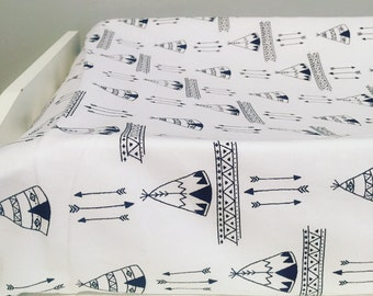 Teepees changing pad cover | arrows changing table pad | arrows nursery | black and white nursery | tribal nursery |explorer teepee baby |