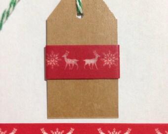 """30"""" Red Reindeer Snowflake Washi Tape Sample"""