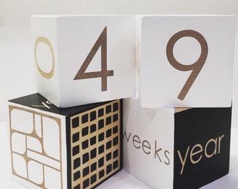 Age Blocks -Baby / Child blocks - wooden blocks- organic paint- modern design -handmade- made to order-geometric-