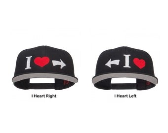 I Heart Right or Left Embroidered Cotton Snapback