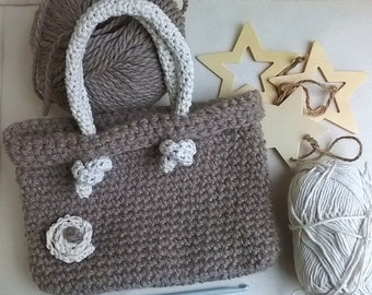 Handmade wool crocheted bag, crochet wool bag