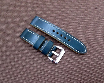 Navy blue leather handmade watch band Difues