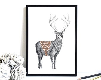 Stag Print with Hand-Painted Gold Detail