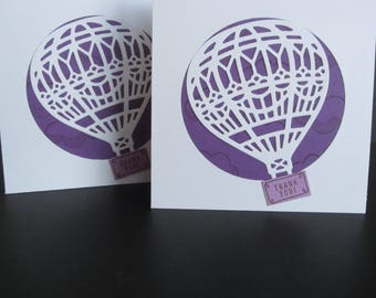 Small Thank You Cards: Hot Air Balloons, Purple and White, Stampin up, Handmade Card
