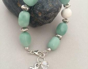Om Bracelet, Amazonite Bracelet, White Agate, Sterling Silver Lobster Claw Clasp, Clear Swarovski Crystal, Beaded Bracelet