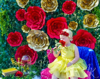 Giant Paper Roses, Rose Flower Backdrop, Beauty and the Beast Party Decor, DIY Paper Flowers,  Templates & Tutorials, Photography backdrop