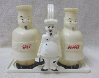 Vintage Plastic Chef Salt and Pepper Shakers with Plastic Carrier