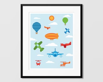 Sky Vehicles Art, Airplanes Wall Art, Kids Room Art,Nursery Art, Kids Wall Art, Childrens Art