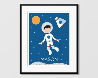 Space Name Art, Spacebot Wall Art, Custom Name Art,Nursery Art, Kids Wall Art, Childrens Art