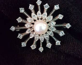Vintage Sterling, Rhinestone and Cultured Pearl Brooch