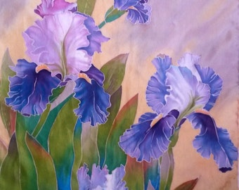 Scarf  hand painted Silk scarf  Irises  lilac floral scarf Silk painting  batik  Christmas Gift for woman  gift for mom floral painting