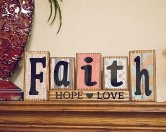Faith Hope & Love wood block sign - Wood Blocks - Personalized Wood Blocks