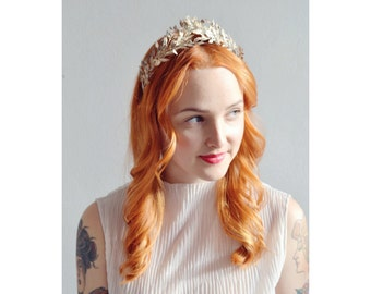 Big Antique Myrtle Bridal Crown Corsage, 800 Silver Lapel Pin, German Wedding Headdress