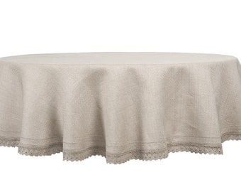 Attractive 100 % LINEN TABLECLOTH ROUND (Oval) Tablecloth Wedding, Kitchen  Decor,Paschal Tablecloth