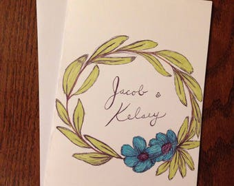 Custom Personalized Wedding Card - Drawing Illustration Sketch Engagement Greeting Card Floral Flower Leaves Wreath