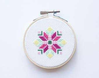 Abstract Flower - Instant Download PDF Pattern - Easy DIY Cross Stitch Pattern - Beginners Pattern