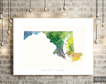 Maryland Map - State Map of Maryland - Art Print Watercolor Illustration Wall Art Home Decor Gift - NATURE PRINT