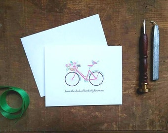 Bicycle with Flowers Personalized Folded Notes - Set of 10
