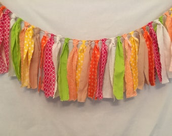 Rag Tie Garland/Fabric Strip Garland/Citrus Fabric Garland/Orange Garland/Fabric Garland/Fuchsia Garland/Lime Green Garland/Yellow Garland