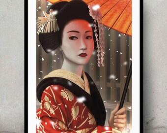 Geisha • Digital Painting • Wall Art