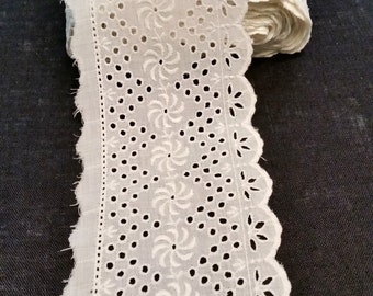 White Eyelet Trim, Embroidered Cotton Four Inch Wide Lace, Vintage Raw Edge Cotton Flat Eyelet Trim, White Eyelet Lace Edging, price per yd