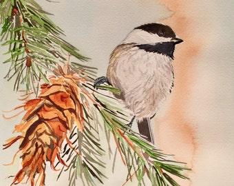 Chickadee in the Pine Watercolor, Bird Art, Wildlife Painting
