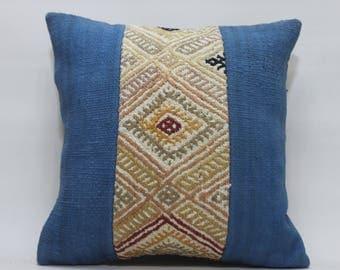 16x16 embroidered pillow kelim kissen throw pillow  pillow geometric cushion anatolian Turkish kilim patchwork  kilim pillow cover    2436