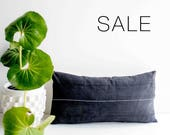 "Sale! Grey Contrast Stitch Pillow Cover | 12"" x 24"""