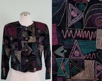 Vintage 1980s Velveteen Blazer / Metallic Embellished Jacket / Cropped, Boxy, Velvet Coat / Modern Size