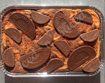 Chocolate Orange Swirl Fudge tray - handmade chocolate gift