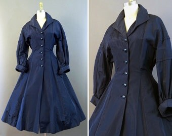 50s New Look Coat- 1950s Lord and Taylor Vintage Coat - Navy Princess Coat - Silky Swing Coat w Flared Skirt - Decorative Buttons