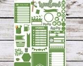 Green Essentials Stickers for your Erin Condren Planner, Happy Planner, Lime Life Planner, SMC inserts, {1407 Green Essentials}