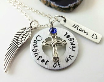 Daughter of an Angel Necklace~ Loss of Mom~ Loss of Dad~ Mom Memorial Jewelry~ Dad Memorial Jewelry~ Remembrance Gift~ Funeral Gift~ #N69