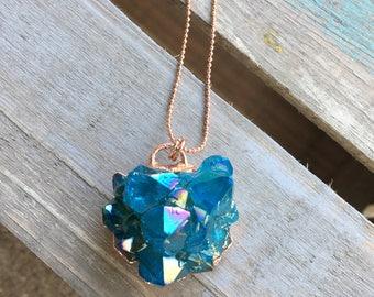 Aura Teal Quartz Cluster Necklace
