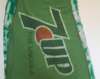 Women's up cycled 7 UP green tie dye tshirt skirt A-line yoga waistband size small/medium one of a kind