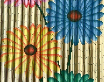 Quad Flowers Bamboo Beaded Curtain