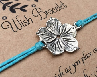 Flower Wish Bracelet, Make a wish Bracelet, Hibiscus Flower Bracelet, Wish Bracelet, Friendship Bracelet, Flower Bracelet, Gift for Her