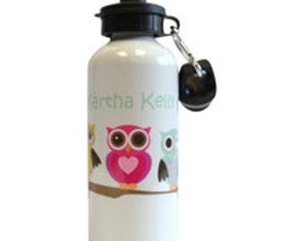 Personalised Kids Drink Bottle, Girls Sports Bottle, Personalised Drink Bottles, Owl Drink Bottle