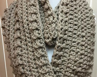 Beige Scarf, Wide Scarf, Crochet Scarf, Chunky Scarf, Infinity Scarf, Beige Crochet Scarf, Crocheted Scarf, Winter Scarf, Gifts for Her