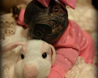 Custom black piglet doll